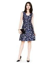 kate spade new york | Blue Leopard Print Fit And Flare Dress | Lyst
