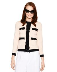 kate spade new york - Pink Fringe Pocket Cardigan - Lyst