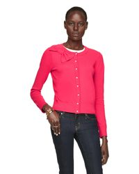 kate spade new york | Pink Jewel Button Bow Cardigan | Lyst