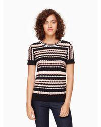 kate spade new york | Black Scallop Stripe Sweater | Lyst