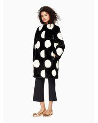 kate spade new york | Natural Polka Dot Faux Fur Coat | Lyst