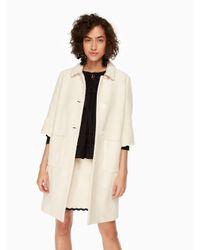 Kate Spade - Natural Textured Tweed Coat - Lyst