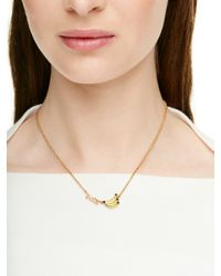 kate spade new york | Metallic 12k Gold-plated Mother-of-pearl Butterfly Mini Pendant Necklace | Lyst