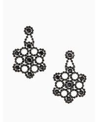 Kate Spade - Black Crystal Lace Statement Earrings - Lyst