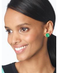 Kate Spade - Green Kate Spade Small Square Studs - Lyst