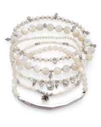 Kendra Scott - Multicolor Supak Silver Beaded Bracelet Set Ivory Mother Of Pearl Mix - Lyst