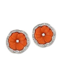 Kenneth Jay Lane | Orange Coral Flower Clip Earring | Lyst