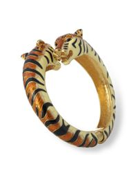 Kenneth Jay Lane | Metallic Tan And Black Enamel Tiger Bracelet | Lyst