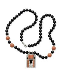 Kenneth Jay Lane   Pink Coral Art Deco Pendant Necklace   Lyst