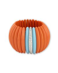 Kenneth Jay Lane | Pink Coral & Turquoise Stretch Cuff | Lyst