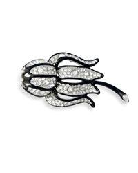 Kenneth Jay Lane | Metallic Crystal Flower Brooch | Lyst