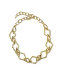 Kenneth Jay Lane | Metallic Satin Gold Link Necklace | Lyst