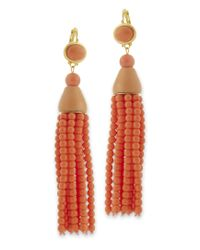 Kenneth Jay Lane | Pink Coral Bead Tassel Drop Eurowire Earring | Lyst