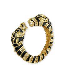 Kenneth Jay Lane | Metallic Black Enamel Zebra Head Bracelet | Lyst