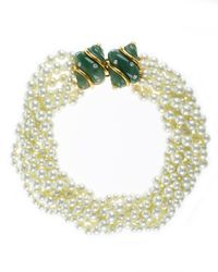 Kenneth Jay Lane | Green 8 Row Pearl Necklace With Double Jade Crystal Shell Clasp | Lyst