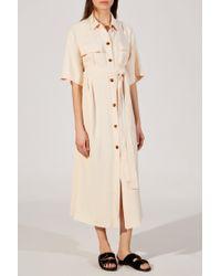 Khaite - Natural - Leilani Tie Waist Button Down Crepe Dress - Womens - Light Pink - Lyst