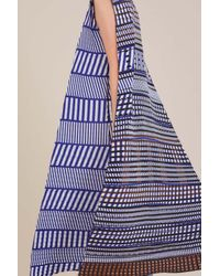 Issey Miyake - Blue Printed Dress With Belt - Lyst
