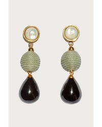 Lizzie Fortunato - Green Moss And Agate Drop Earrings - Lyst