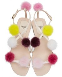 Fendi - Pink Strapped Fur Pom Pom Sandals - Lyst