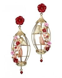 Of Rare Origin | Multicolor Lovebirds Cage Earrings | Lyst