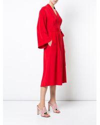 Adam Lippes - Red Kimono Wrap Silk Midi Dress - Lyst