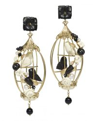 Of Rare Origin - Metallic Lovebirds Cage Earrings - Lyst