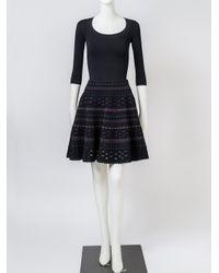 Alaïa - Black 3/4 Sleeve Scoop Neck Bodysuit - Lyst