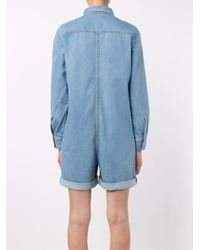 Stella McCartney - Blue Long Sleeve Denim Playsuit - Lyst