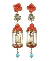 Of Rare Origin - Multicolor Aviary Classic Earrings - Coral & White - Lyst