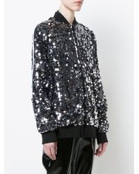 MSGM - Black Sequinned Bomber Jacket - Lyst