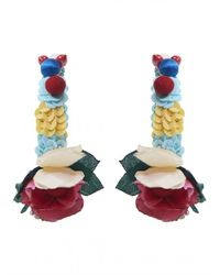 Ranjana Khan - Multicolor Flower Hoop Earrings - Lyst