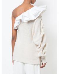 Johanna Ortiz - White Frill Trim One Shoulder Knit Top - Lyst