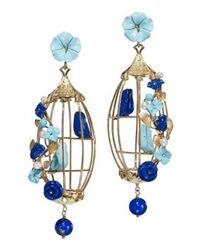Of Rare Origin | Blue Lovebirds Cage Earrings | Lyst