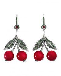Axenoff Jewellery - Red Cherry Garnets Earring - Lyst