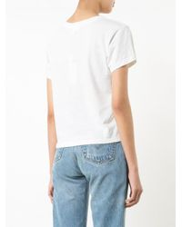 Re/done - White Round Neck T-shirt - Lyst