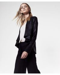 Krisa | Black Coated Drape Jacket | Lyst