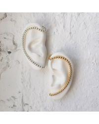Lady Grey - Metallic Pearled Trace Ear Cuff In Gold- Right Ear - Lyst