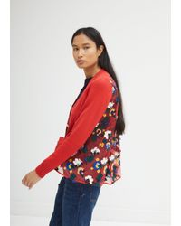 Sacai - Red Flower Knit Mix Cardigan - Lyst