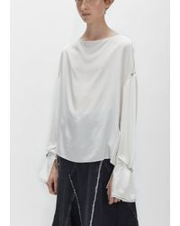 3.1 Phillip Lim - White Pierced Sleeves Draped Blouse - Lyst