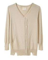 Girl by Band of Outsiders - Natural Button Front Cardigan - Lyst