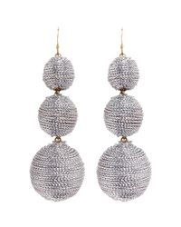 Kenneth Jay Lane - Metallic Graduating Threaded Sphere Drop Earrings - Lyst