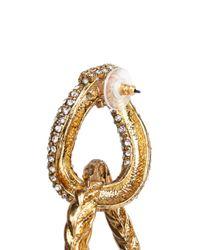 Erickson Beamon - Metallic Swarovski Crystal Interlocking Hoop Earrings - Lyst