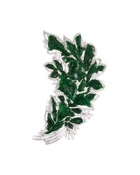LC COLLECTION - Metallic Diamond Jade 18k Gold Floral Brooch - Lyst