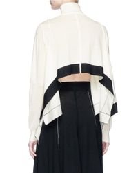 TOME - White Cropped Back Handkerchief Turtleneck Sweater - Lyst