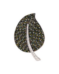 Kenneth Jay Lane - Green Glass Crystal Leaf Brooch - Lyst