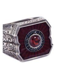 Stephen Webster - Multicolor 'england Made Me' Sapphire Harnet Oxblood Enamel Signet Ring for Men - Lyst