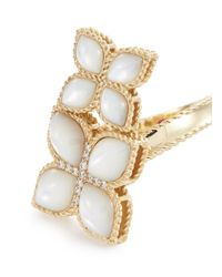 Roberto Coin - Metallic 'princess Flower' Diamond Pearl 18k Yellow Gold Ring for Men - Lyst