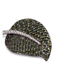 Kenneth Jay Lane - Green Glass Crystal Leaf Brooch - Lyst