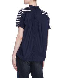 Sacai - Blue Pleated Back Stripe T-shirt for Men - Lyst