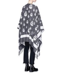 Alexander McQueen | Gray Skull Jacquard Wool-cashmere Cape | Lyst